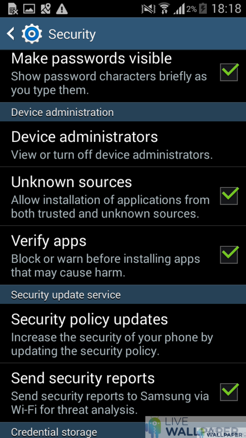 Android Security Settings Screen